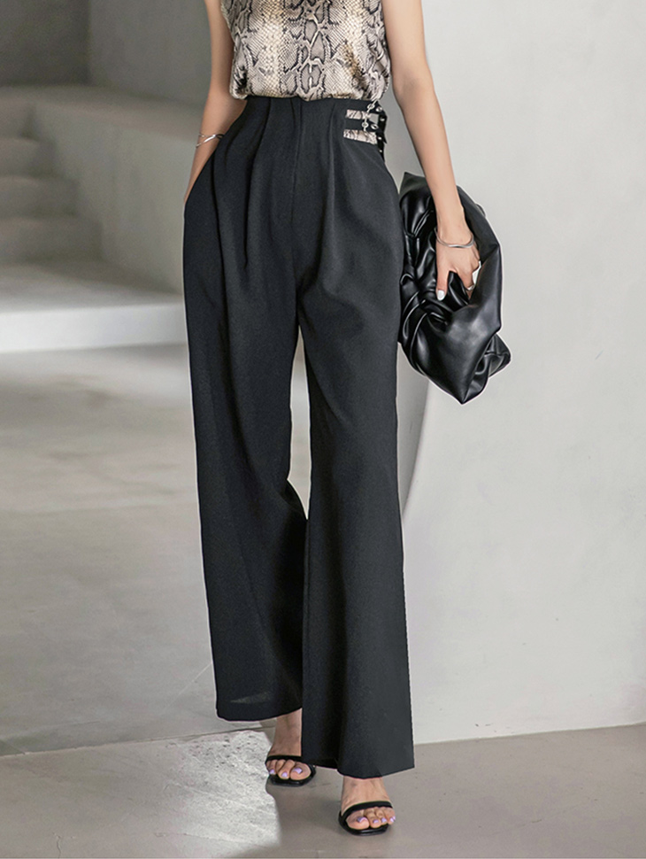 P2448 Two Buckle Strap wide Long pants(3rd REORDER)