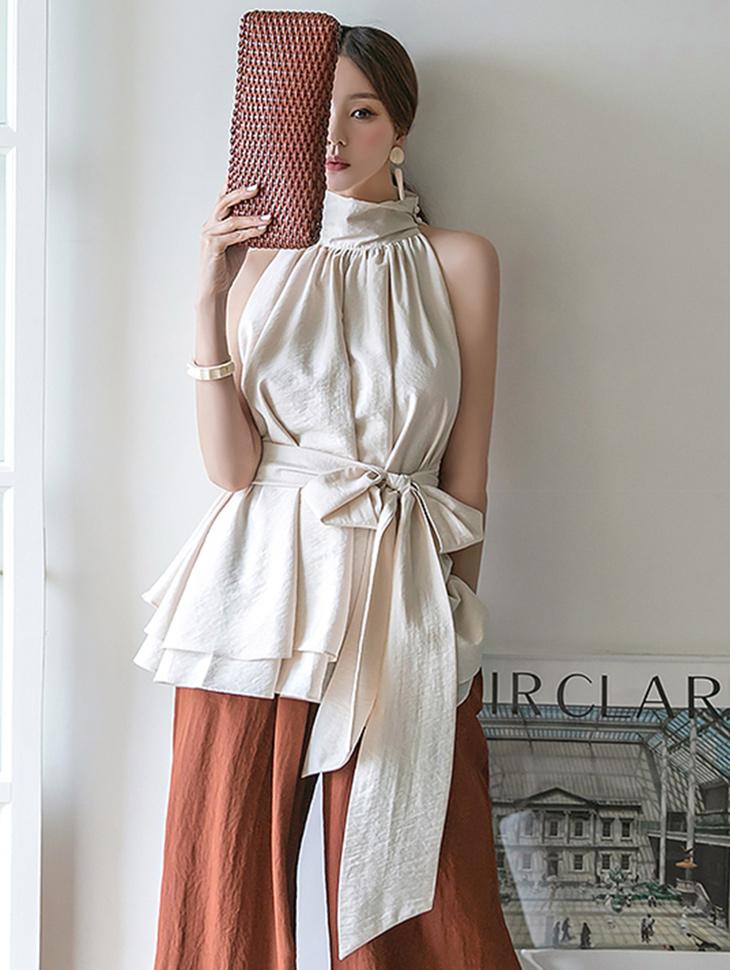 B9087 high neck Shirring Sleeveless blouse(Belt set)