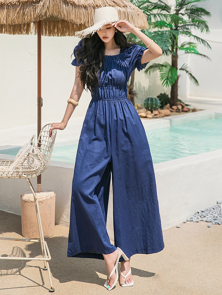 D4278 브델 스모크 banding wide Long jumpsuit(6th REORDER)