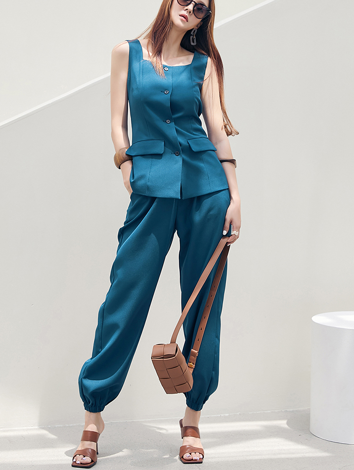 TP1270 리안 Square neck Button Sleeveless vest two-piece set*SET 5%*(3rd REORDER)