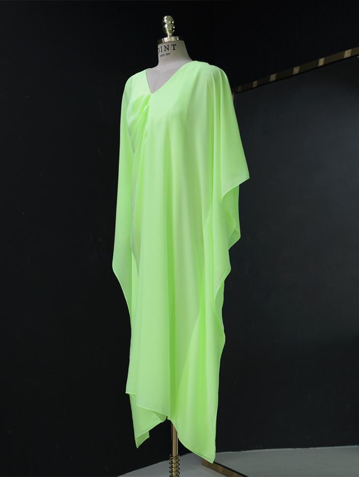D9169 Neon Color Shirring medium Dress