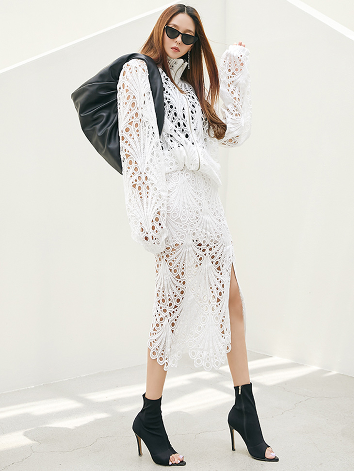 TP1271 Lace over fit high neck zip up two-piece set*SET 5%*