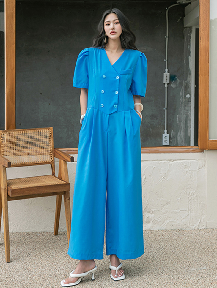 D4288 Puff Double Button wide jumpsuit(3rd REORDER)
