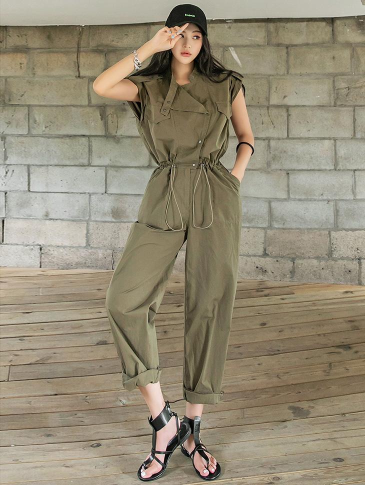 D4295 Cotton Snap Button String jumpsuit(3rd REORDER)