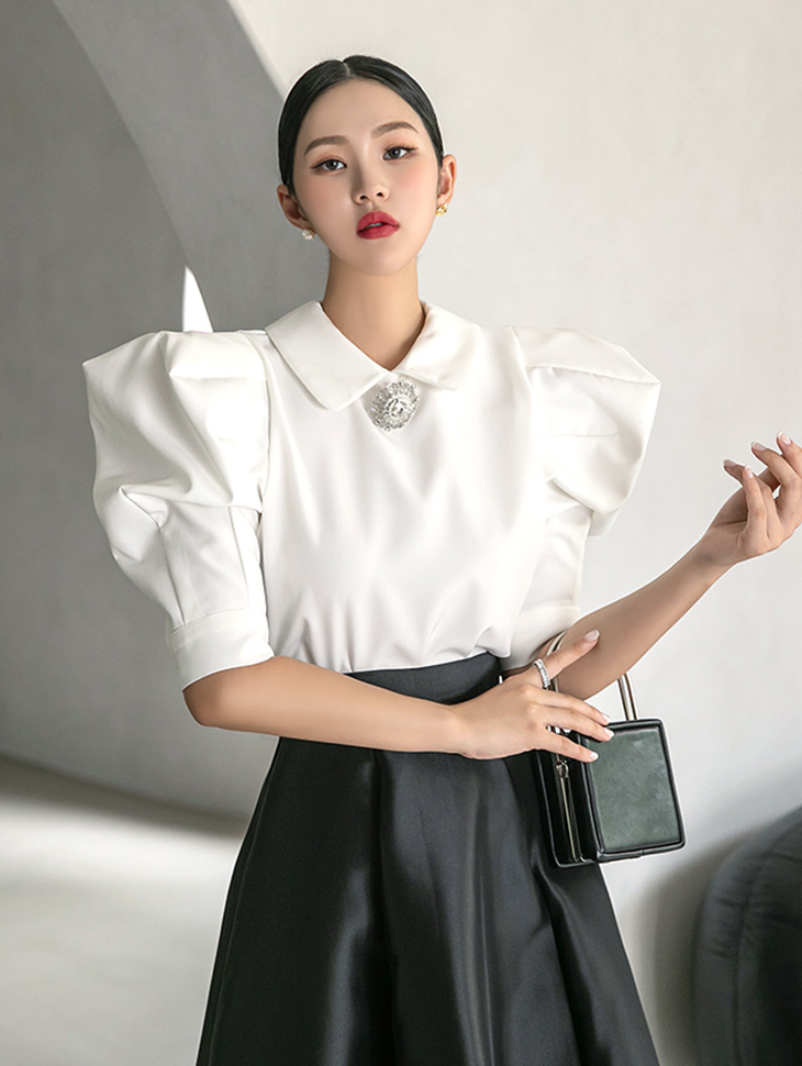 B9094 jewellery Collar gather Puff blouse(11th REORDER)
