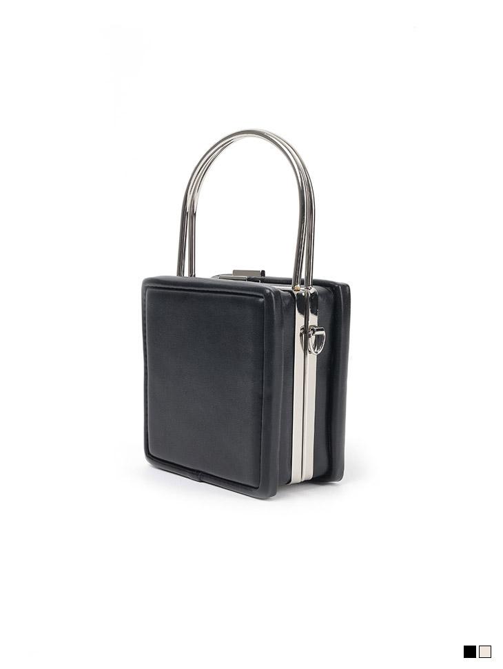 A-1338 square Silver Handle Mini tote Bag(Chain set)