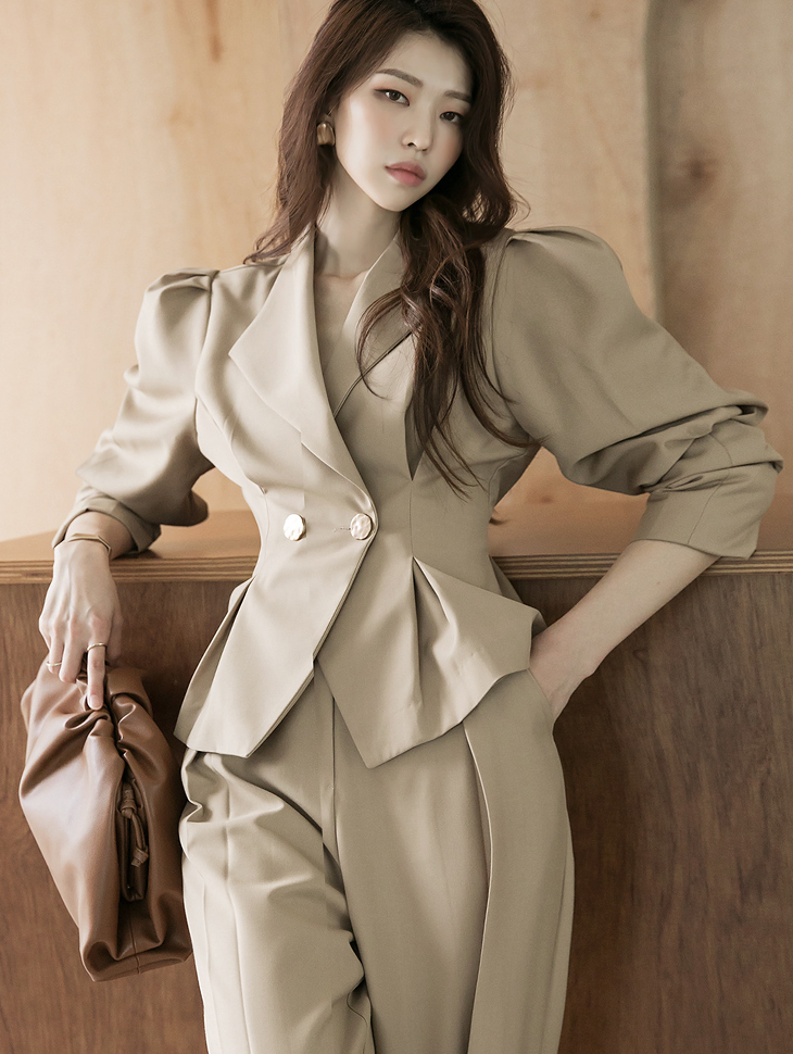 J1033 pin tuck Puff Gold-Button Double Jacket(7th REORDER)