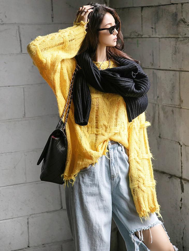 E2509 쏠리 twist damage Point knit(15th REORDER)