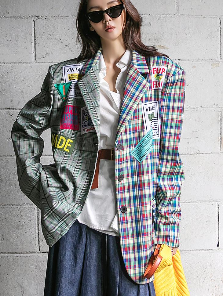 J1294 젠 Check Color scheme label over fit single Jacket(12nd REORDER)