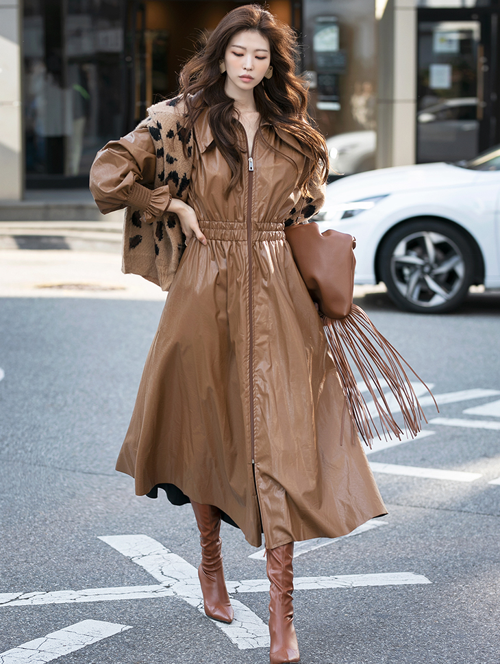 D4134 뮤즈 Leather 스모크 banding medium Dress*Can be worn as a Outer*(51th REORDER)