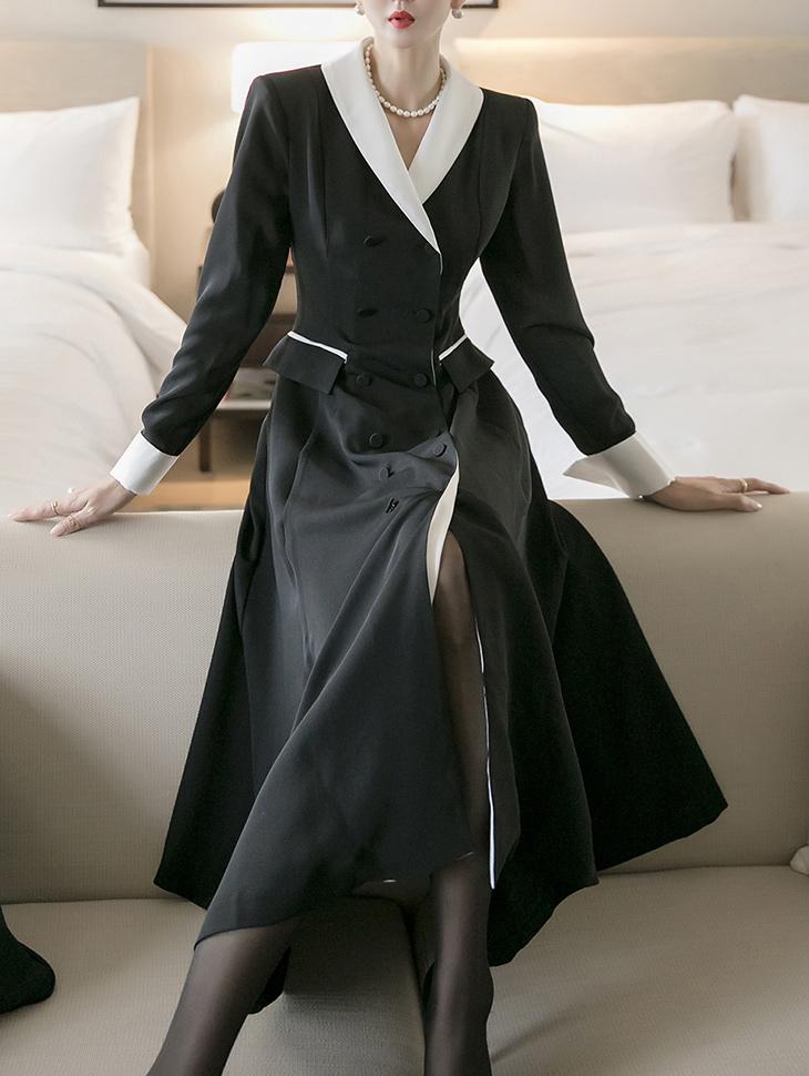 D4108 레이안 shawl Collar Color scheme Pad medium Dress(8th REORDER)