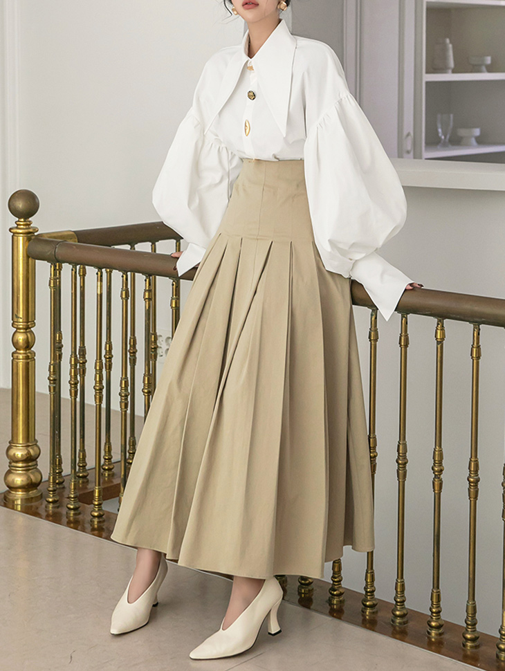 SK2202 헬리드 Cotton pleats Long skirt(3rd REORDER)