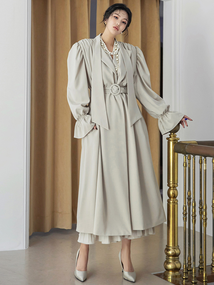 J1316 Shirring Scarf Pad One Button Long trench coat(Belt set)