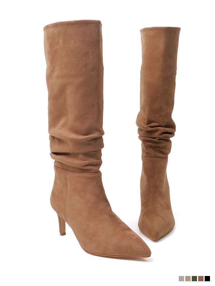 AR-2852 Suede Shirring middle heels Middle boots