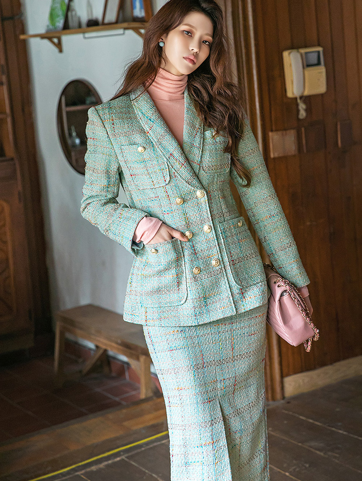 J1320 Tweed plaid Check Gold-Button Pad Double Jacket