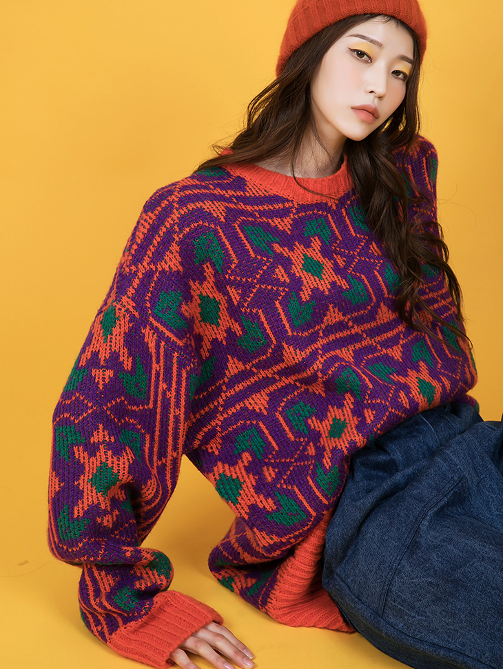 E2362 Pattern mohair wool Round neck knit
