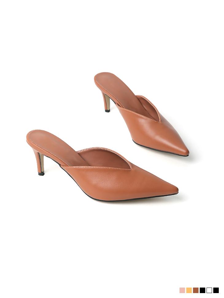 AR-2654 브론 basic stiletto High heels mule