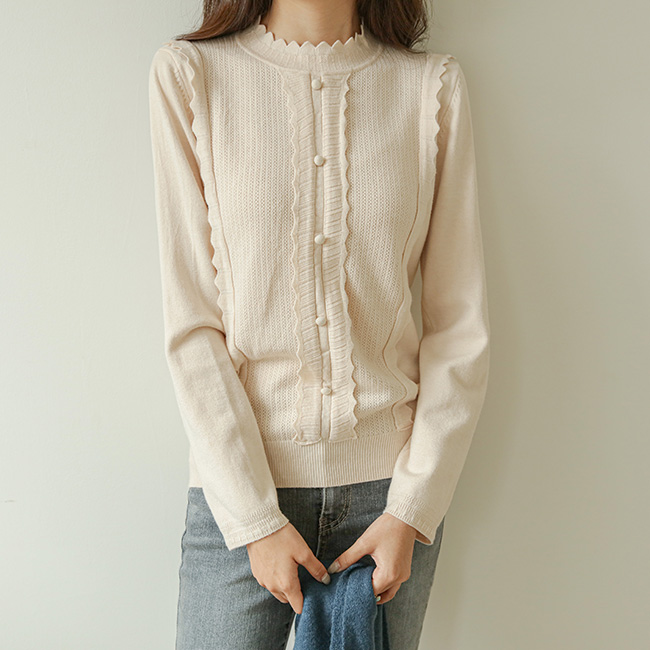 <br>9DA21110AA_Genie Zigzag Half Polar Button Knit