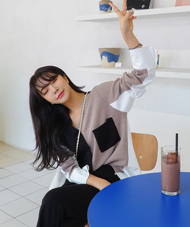Bona color cardigan