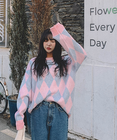 Pastel Argyle Wool Knit