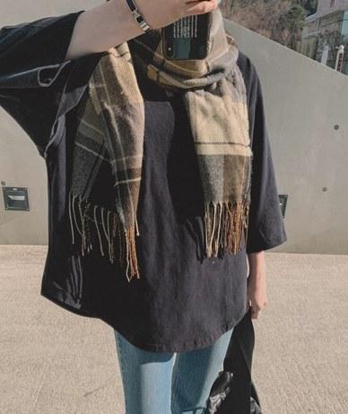 London check scarf