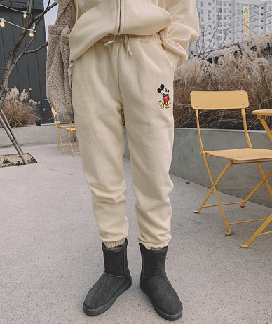 Mickey Embroidery Raised Jogger Pants