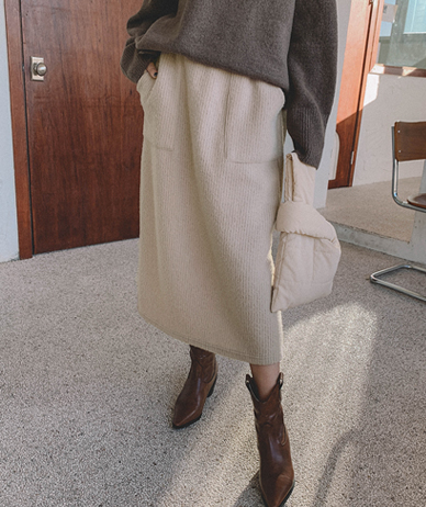 Klbee outer brushed long skirt