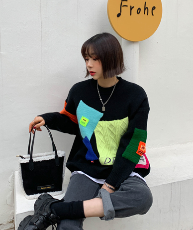 Patch Colorful Knit