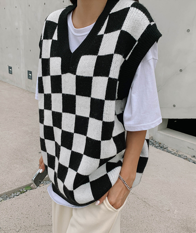 Ben Checked Wool Knit Vest