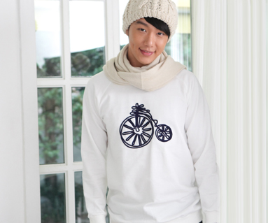 """Brushed Bicycle Man to man men long sleeve_12D08 <font color=""""#FF6666""""><strong>[Order available]</strong></font>"""