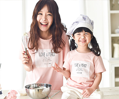 """Fish Round Mom and Baby short T-shirts_16B02 <font color=""""#FF6666""""><strong>[Order available]</strong></font>"""