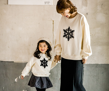 Brushed Foam Snow Mother and Baby long sleeve_17D08