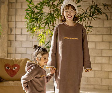"""<font color=""""ffffff"""">[Family long sleeve tee & family look] <br></font> Brushed Lovely Monty Mom and Baby long sleeve_17D04"""