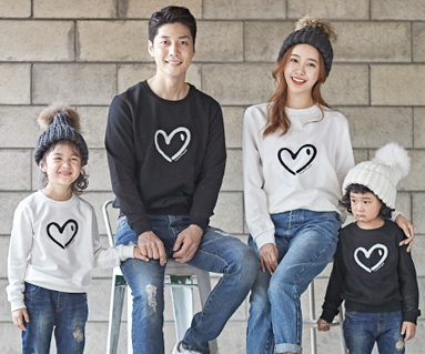 "<font color=""ffffff"">[Family Man-to-Man & Unisex]<br></font> Brushed Heartheart family long sleeve_18D01"