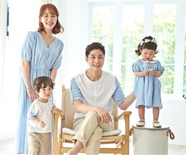 "<font color=""ffffff"">[Family short T-shirts Tee & family look] <br></font> family day blue short T-shirts 19B09 / family"