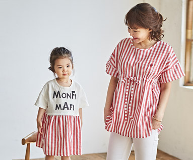 "<font color=""ffffff"">[Family short T-shirts Tees & Family Looks] <br></font> Red Mango Mother and Baby short T-shirts_18B18"