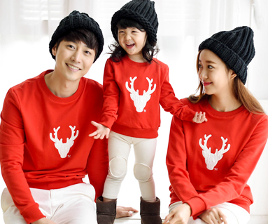 """Brushed Deer Man to man family long sleeve_15D05 <font color=""""#FF6666""""><strong>[Order available]</strong></font>"""
