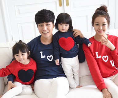 "<font color=""ffffff"">[Family long sleeve tee & family look] <br></font> Bookle Heart Man to man family long sleeve"