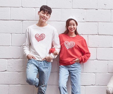 """<font color=""""ffffff"""">[Family Long Sleeve Tee & Family Look]<br></font> Unisex Heart and Man to man 20C01<font color=""""red""""><b> </b></font>"""