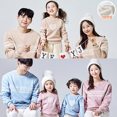 """<font color=""""ffffff"""">[Family Long Sleeve Tee & Family Look]<br></font> Brushed Knit Heart family Man to man 20D06<font color=""""red""""><b> </b></font>"""