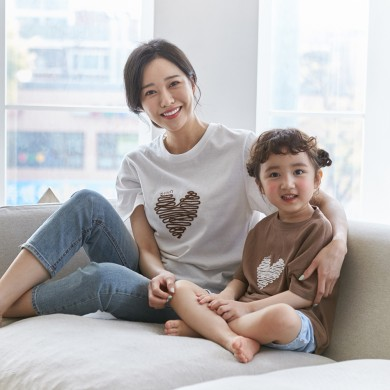 Chocolate Heart short T-shirts Mother and Baby 21B04WK/ Family Look, Family Photo Costume