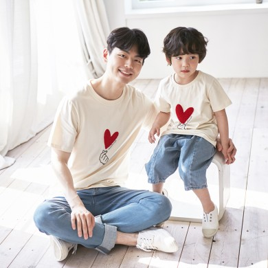 I love you short T-shirts Dad and Baby 21B01MK/ Family Look, Family Photo Costume