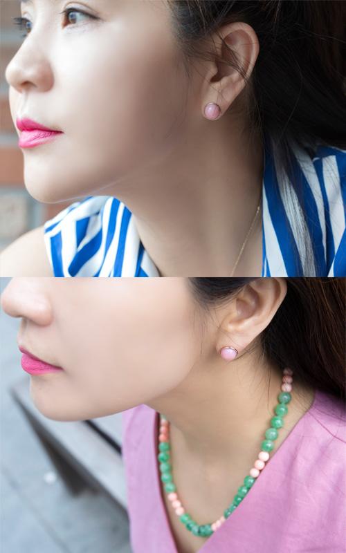 1125261 - [나스첸카 NASCHENKA] 핑크 핑크해 _ 14K pink opal 핑크 오팔 귀걸이