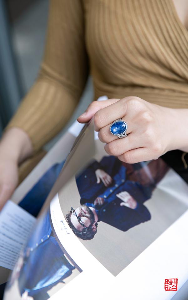 6211 - [나스첸카 NASCHENKA] 천국의 조각 : 블루 [실버 수공예 카이언나이트 반지]
