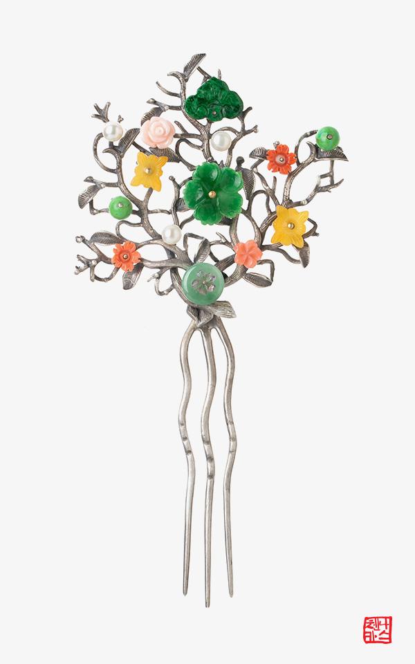 1165372 - [나스첸카 NASCHENKA] 보석꽃, 활짝피다 _ 비취 뒤꽂이 산호 뒤꽂이 _ 한복 머리장식 _ 결혼준비 _ 신랑어머니한복