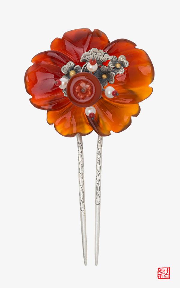 1360928 - [나스첸카 NASCHENKA] 꽃을 보며 행복하세요 _ 자마노 뒤꽂이 _ 한복 머리장식 _ 결혼준비 _ 신랑어머니한복 쪽진머리비녀
