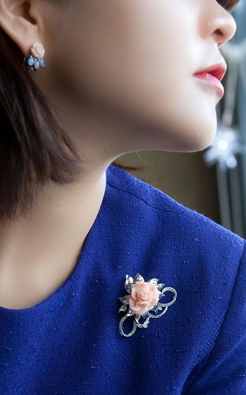 9890 - [나스첸카 NASCHENKA] 사랑스러워지기 _  산호 귀걸이 오팔 귀걸이