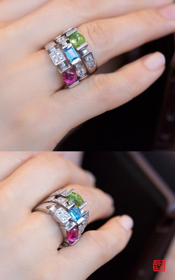 1014265 - [나스첸카 NASCHENKA] 레이어링 웨지링 _ peridot 페리도트 반지