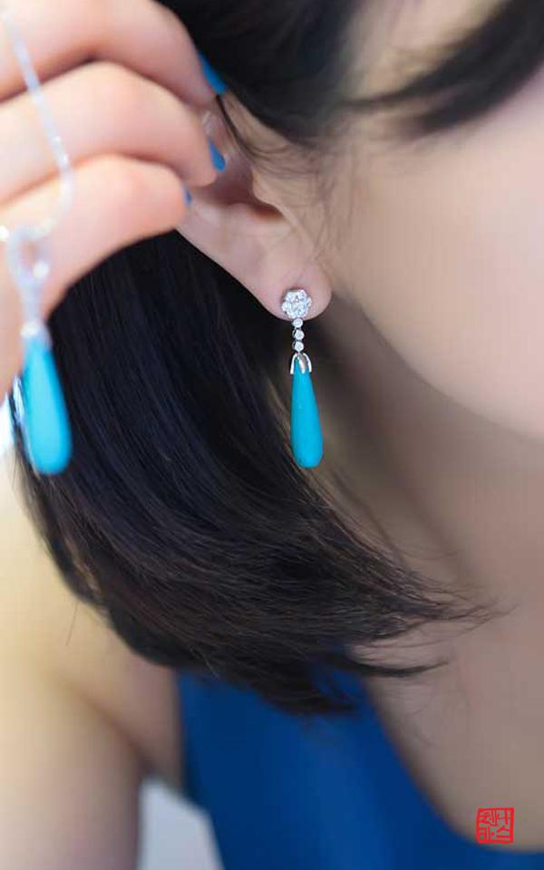 9196 - [나스첸카 NASCHENKA] 반짝이는 매력녀 _  터키석 귀걸이