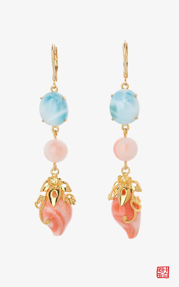 1459391 - [나스첸카 NASCHENKA] 웰 템퍼드 _ 산호 귀걸이 라리마 귀걸이 원석 귀걸이